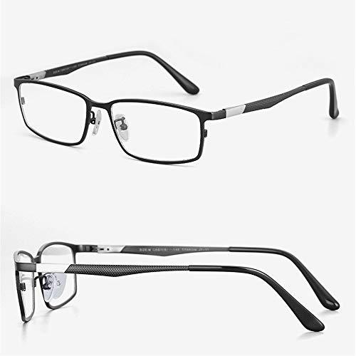 HAIBUHA Brille Ultraleicht Reines Titan Vollbild Geschäft Brillengestell Frühling Bein Flacher Spiegel Männlich (Farbe : Schwarz)