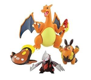 Pokémon - Pack 3 mini figurines et 1 maxi figurine Dracaufeu, Minotaupe, Grotichon et Limonde
