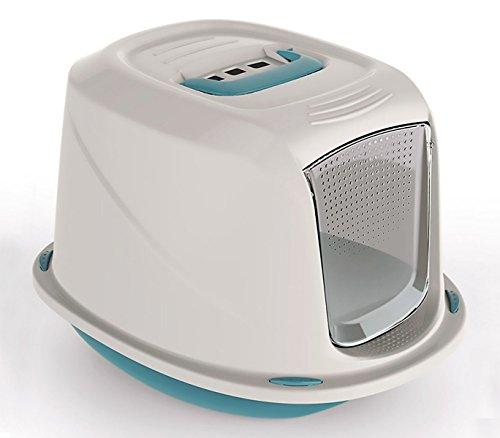 Mediawave Store 10586 Toilette per Gatti Galaxy 45x36x31,5 cm con Sezione pulisci Pelo (Azzurro)