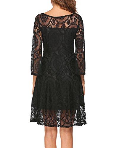 L'AMORE Damen Vintage Kleid Spitzenkleid Abendkleider Langarm Knielang Elegante Swing Partykleid A Schwarz