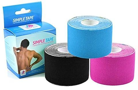 3x Sparpack Original SIMPLE MED PREMIUM Kinesiologie Tape Rolle BLAU-SCHWARZ-PINK - Physio tape für Sport, Medizin und Freizeit - 100% Baumwolle, wasserresistent, optimierte Klebeformel. Rolle: 5m x