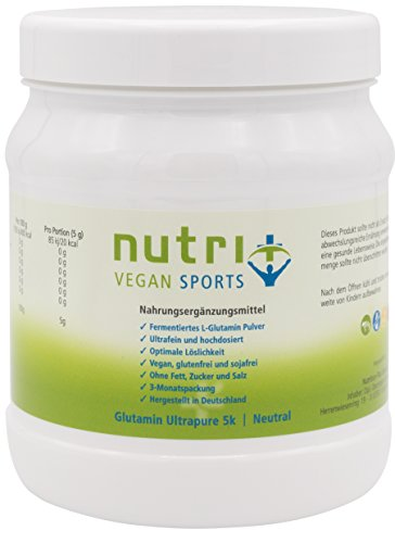 Hochdosiertes L-Glutamin Pulver 500g - mit optimaler Bioverfügbarkeit - ohne Zusätze - Made in Germany - für Muskelaufbau und Regeneration - Nutri-Plus Vegan Sports Ultrapure 5k Neutral