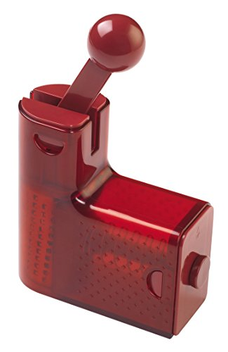Kuhn Rikon Ratchet Grater with Stainless Steel Blades for Cheese, Chocolate and Nuts, Red