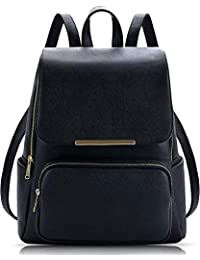 SALEBOX Metal Flap Leather Bagpack With Pouch Inside Ideal for Casuals & Professionals Boys/Girls / School/College- Black