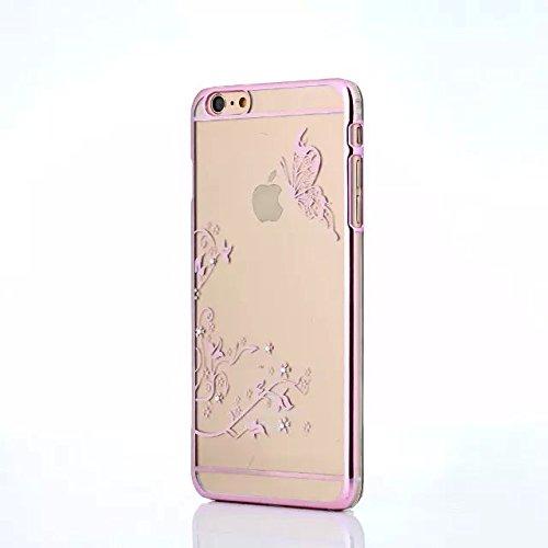 Clear Coque pour iPhone 5/5S/5C/SE, newstars PC Coque pour Iphone 5/5s/5C/SE, oiseau papillon creux plaqué Bling Strass Diamant Transparent Coque Pare-chocs de Protection Transparent pour iPhone 5/5 Papillon rose