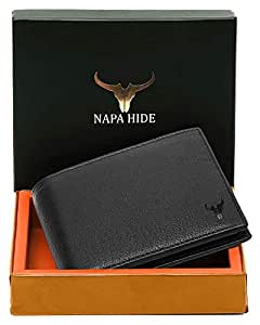 Napa Hide RFID Protected Genuine High Quality Leather Wallet for Men (Black)