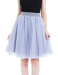 7c27991dcaa6 Andouy Damen Layered Mesh Plissee Tutu Midi Rock Tüll Petticoat Dance  Organza Dress-up Prinzessin