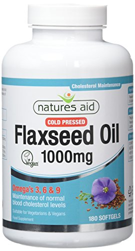 Natures Aid Flaxseed Ã-l 1000mg Cold Pressed (Omega 3, 6 + 9) , 180 Kappen. Suitable for Vegetarians.