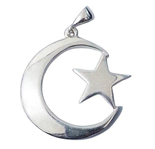 petit-argent-sterling-islamique-symbole-crescent-moon-star-pendentif-pour-colliers