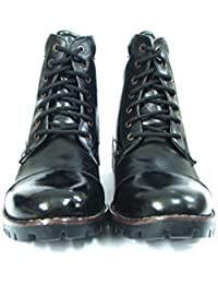 ASM Pure Black Leather DMS Boots : Pure Leather Upper, Leather Lining, Leather Breathable Socks With Memory Foam...