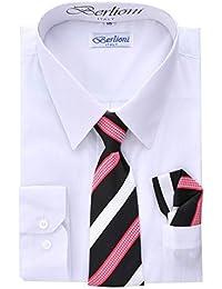 Berlioni Garçons robe chemise avec cravate et Mouchoir de Poche