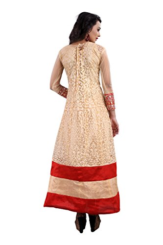 Vibes Pure Georgettea-Line Un-Stitched Salwar Kameez (V73-8005_Beige and Red)