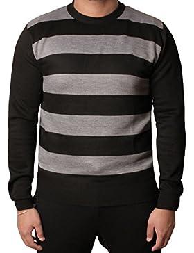 Hombres a rayas Saltador Cuello redondo Casual Suéter Suave Prendas de punto Pullover Moda Parte superior