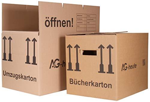 A&G-heute Sparset: 10 Umzugskartons Movebox 2-wellig + 5 Bücherkartons Umzugskisten Ordnerboxen Kiste