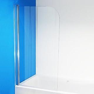 Ababum Badewannenabtrennung Badewannenaufsatz Duschwand Duschabtrennung Spritzschutz 140x80 aus Glas
