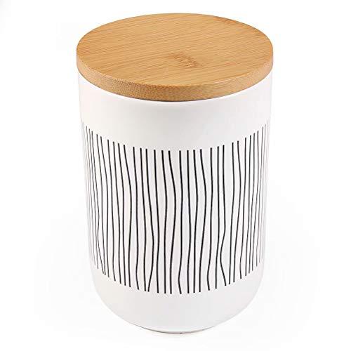 77L Vorratsdose, 580 ML (19.59 FL OZ), Keramik Vorratsdose mit Luftdichtem Verschluss Bambusdeckel Modernes Design Weißer Vorratsbehälter aus Keramik zum Servieren von Tee, Kaffee, Gewürz und mehr