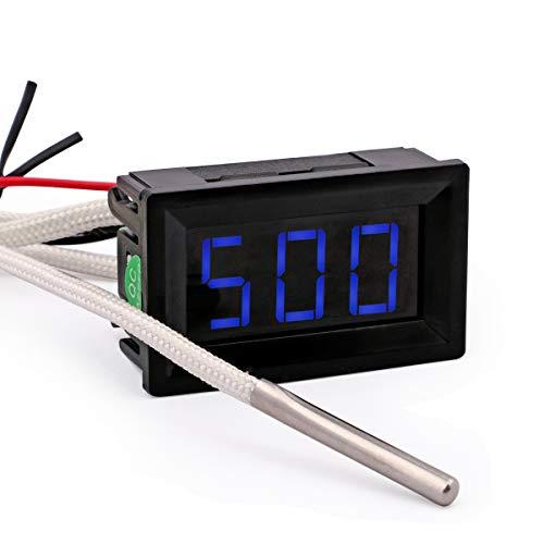 Yeeco Schwarz Shell Blau-LED Digital-Temperatur-Thermometer -30-800 ° C Temperaturmessinstrument -Lehre Thermoelement Typ K Industrielle Temperaturfühler mit Verpolungsschutz