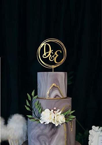 Andrea1Oliver Hochzeit Monogramm Cake Topper benutzerdefinierte Namen Initialen Cake Topper f¨¹r Hochzeit Monogramm Brief f¨¹r Hochzeitstorte Topper Brautdusche (Brief E-hochzeitstorte Topper)