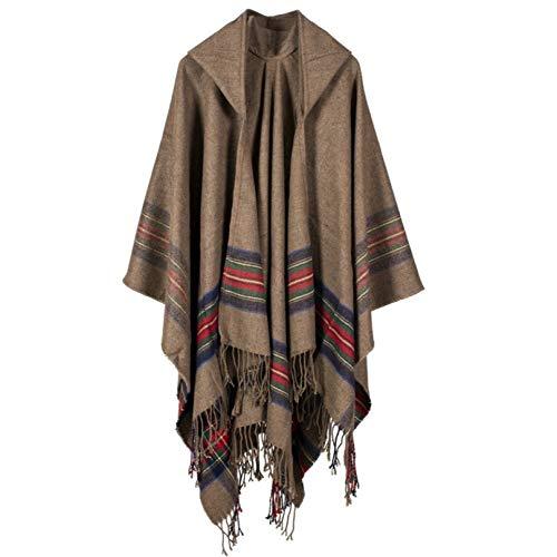 LIUYL Womens Hooded Quaste Poncho Cape Schal Wrap Decke Weibliche Winter Warm Plaid Übergroßen Schal Strickjacken Mantel,Khaki-130 * 150CM Reversible Hooded Mantel