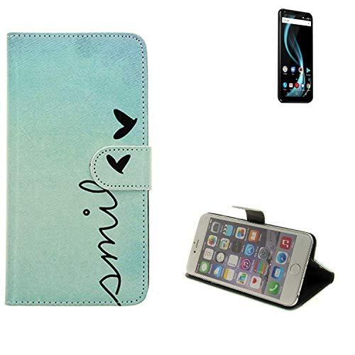 K-S-Trade Für Allview X4 Soul Infinity Plus Hülle Wallet Case Schutzhülle Flip Cover Tasche bookstyle Etui Handyhülle ''Smile'' türkis Standfunktion Kameraschutz (1Stk)