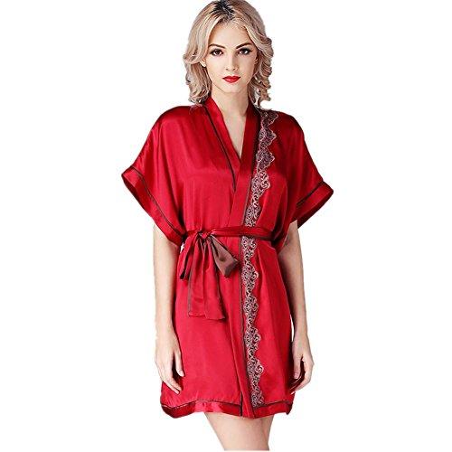 DMMSS Damen Comfort Sling Silk Rock Kurzarm Nightgown Zwei Stück Silk Pyjamas Home Set xl
