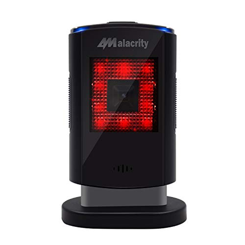 Alacrity 2D 1D USB Automatic Hands-Free Barcode Scanner, Desktop Presentation Image Reader for Mobile Payment, Supermarket, Library, Retail Store, Warehouse.