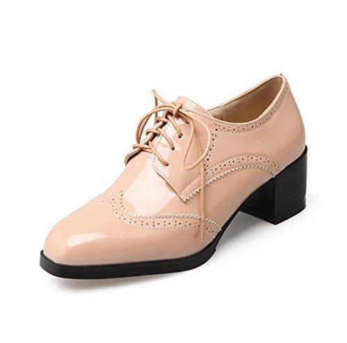 Lace Up Square Toe Große Größe Schuhe Bequeme Frauen Lack Leder Schuhe Lilac