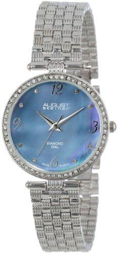August Steiner Reloj de pulsera plateada de nácar Diamante para Mujer