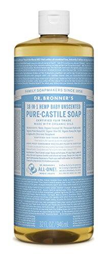 Image of Dr. Bronner's Fair Trade & Organic Castile Liquid Soap - (Baby Unscented, 32 oz)