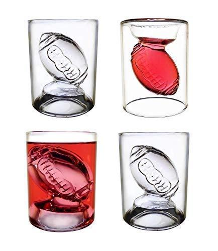 NFL Schnapsglas/Schnapsgläser, wendbar, ca. 57 ml, transparent, 4 Stück