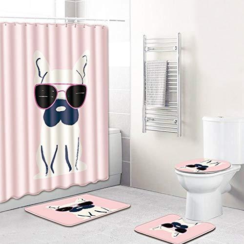 CSJ Kreative Cartoon Sonnenbrille Hund Muster Duschvorhang Bodenmatte Badezimmer Toilettensitz vierteiliger Teppich Wasseraufnahme Verblasst nicht Vielseitig Komfortable Badezimmermatte Kann in der Ma