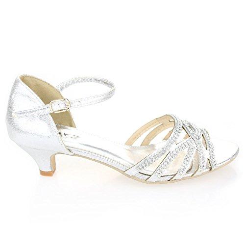 Aarz femmes Ladies Wedding Party Soirée Low Heel ouvert Toe Diamante Sandal Bridal Chaussures Taille (Noir, Argent, Or) Argent