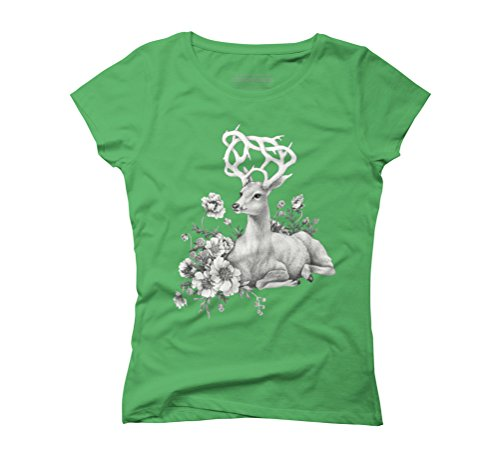 Floral Horn Women's Graphic T-Shirt - Design By Humans Green