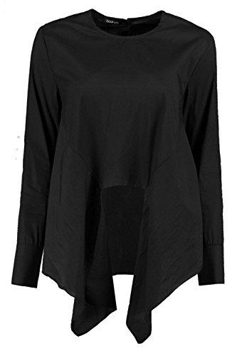 Noir Femmes Lydia Chemise Tissée Manches Longues Nouée Devant Noir