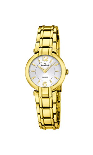 Candino reloj de cuarzo para mujer con blanco esfera analógica pantalla y oro pulsera de acero inoxidable C4580/1
