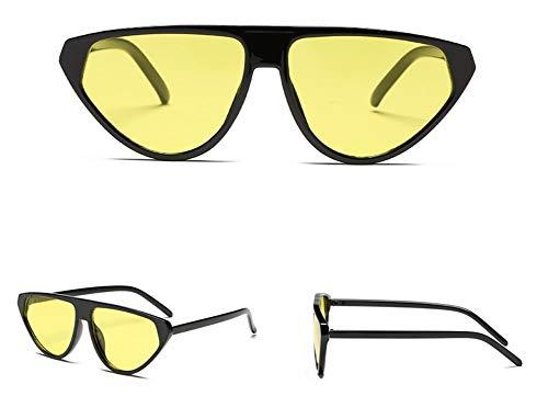 WSKPE Sonnenbrille Piloten Sonnenbrille Flache Steigung Streulichtblenden Brillen Unisex Gläser Uv 400 Schwarzen Rahmen Gelbe Linse