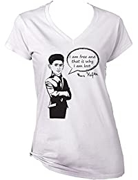 Teesquare1st Women's FRANZ KAFKA - I AM FREE White T-Shirt