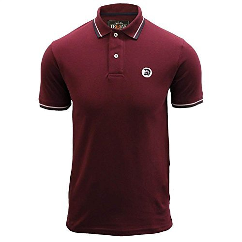 trojan-records-polo-t-shirt-hommes-marron-pique-classique-bout-mode-retro-top-bordeaux-homme-l
