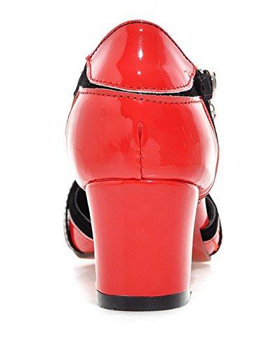 UH Femmes Sandales Laniere en T à Talons Moyen Bloc sans Plateforme Bout Pointu avec Boucle Confortables Rouge