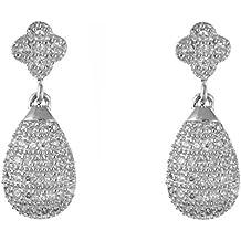 Blanco/Transparente brillantes Micro Pave zirconias cúbicos (CZ) pera/pendientes de lágrima colgantes pendientes de gota–Plata de Ley 925–se envía en caja de regalo gratis o bolsa de regalo