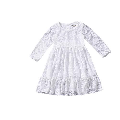 fairy baby Fee Baby Mädchen Spitzenkleid Langarm Floral Party Prinzessin Kleid Size 80 (White)