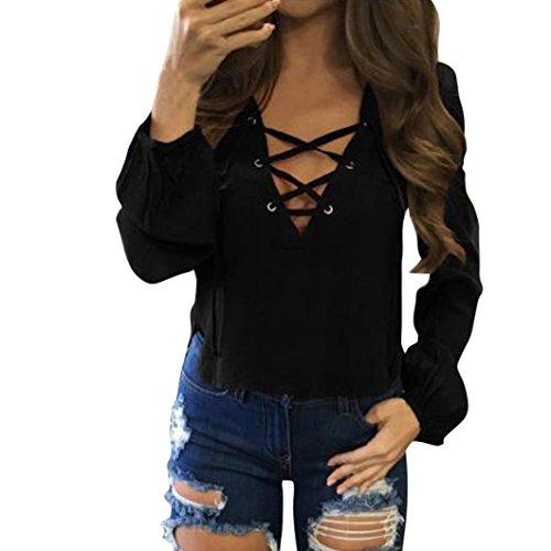 DOLDOA Damen Langarmshirt,FrauenV-Ausschnitt mit Schnürung Vorne Oberteil lange Ärmel Kurz Tops Bluse Shirt (EU:38, Schwarz) (Brust Nackte Die)