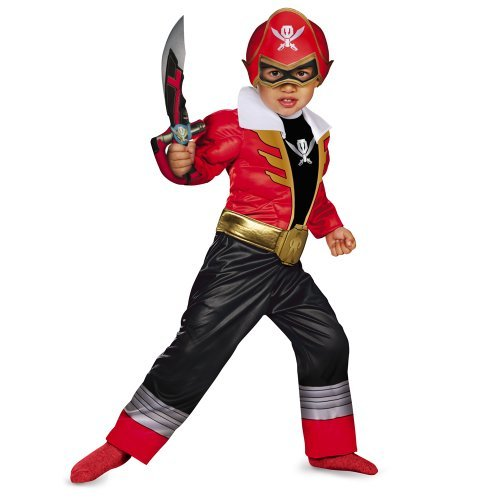 Power Rangers Super Megaforce Red Ranger Toddler Muscle Costume (Small)