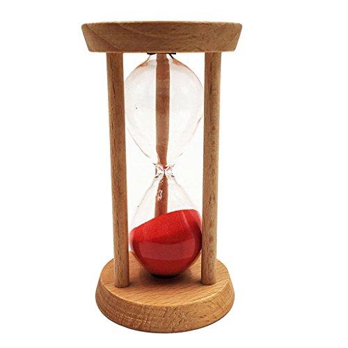 Baoblaze 10 Minuten Holzrahmen Sanduhr Teeuhr Mit Sand Dekoration Geschenke - 4,8 x 9 cm - Rot