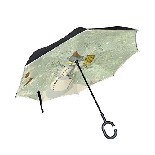 DEZIRO Winter-Regenschirm mit Schneemann-Motiv, automatischer Aufsteller, UV-Schutz, selbststehend, C-förmiger Griff