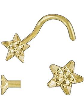 ASS 750 Gelbgold Nasepiersing Nasenstecker, Stern, diamantiert mit Spirale