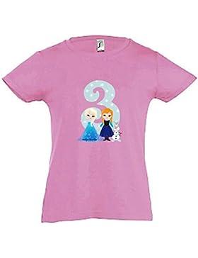 wolga-kreativ T-Shirt Eiskönigin 3 Geburtstag Gr. 96-104 cm Geburtstagsshirt pink