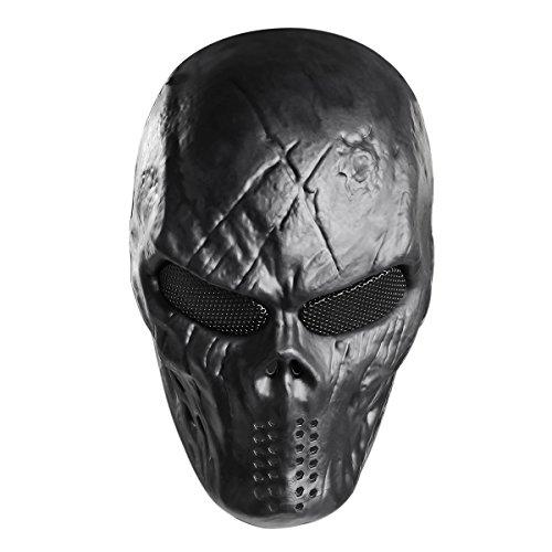 UNOMOR Skull Paintball Maske Halloween Voll Airsoft Maske - Schwarz