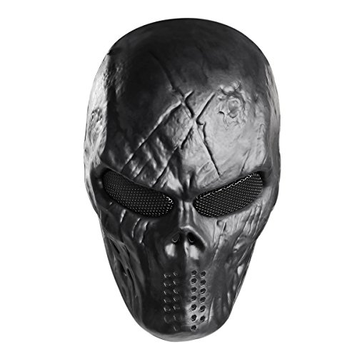 Unomor Skull Paintball Máscara Halloween Completo Airsoft Máscara–Negro
