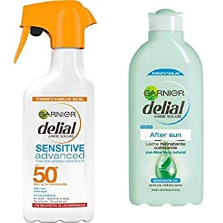 Garnier Delial Niños Spray Protector Solar IP50+ – 300 ml + After Sun Leche Hidratante Calmante – 400 ml